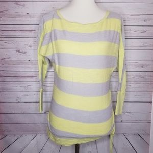 Express | Striped 3/4 Sleeve Cinched Side